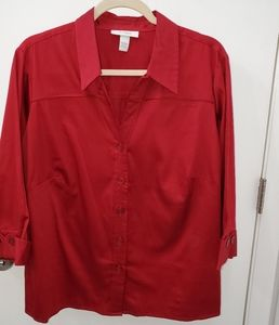 Dress Barn Red V-Neck Blouse